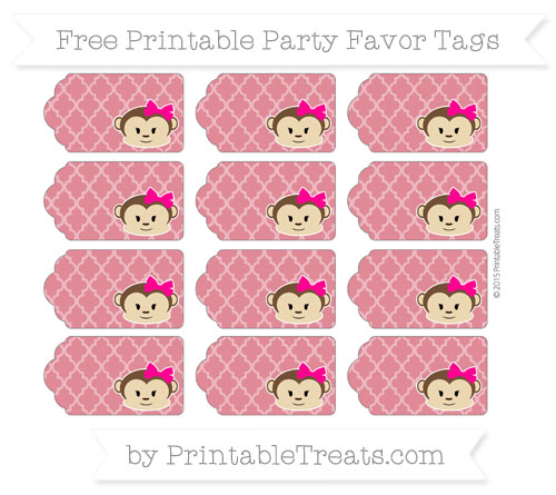 Free Cardinal Red Moroccan Tile Girl Monkey Party Favor Tags