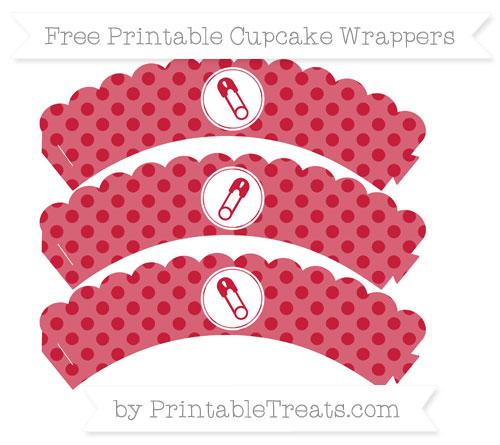 Free Cardinal Red Polka Dot Diaper Pin Scalloped Cupcake Wrappers