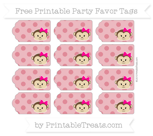Free Cardinal Red Polka Dot Girl Monkey Party Favor Tags