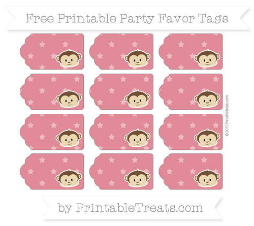 Free Cardinal Red Star Pattern Boy Monkey Party Favor Tags