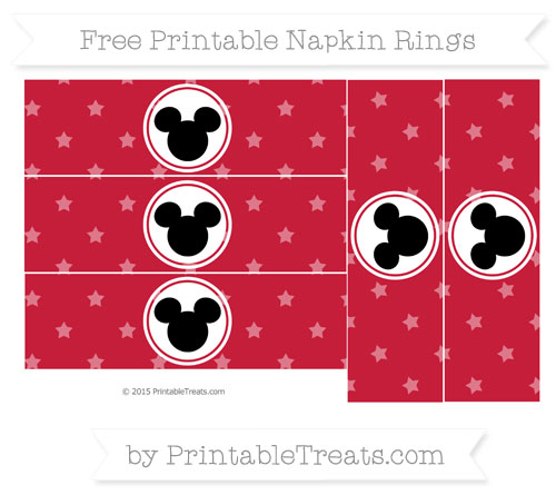 Free Cardinal Red Star Pattern Mickey Mouse Napkin Rings