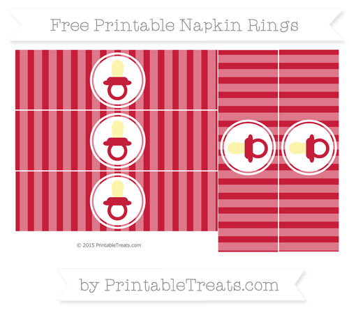 Free Cardinal Red Striped Baby Pacifier Napkin Rings