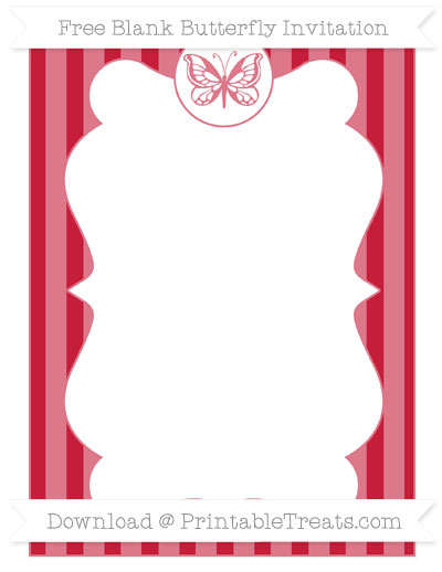 Free Cardinal Red Striped Blank Butterfly Invitation