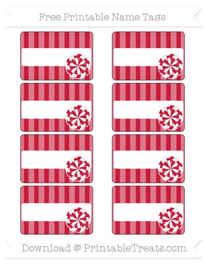 Free Cardinal Red Striped Cheer Pom Pom Tags