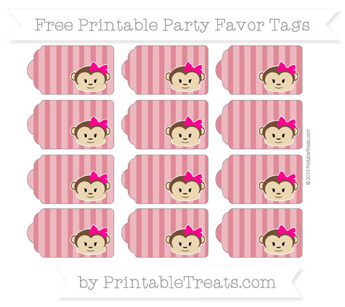 Free Cardinal Red Striped Girl Monkey Party Favor Tags