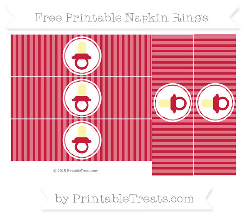 Free Cardinal Red Thin Striped Pattern Baby Pacifier Napkin Rings