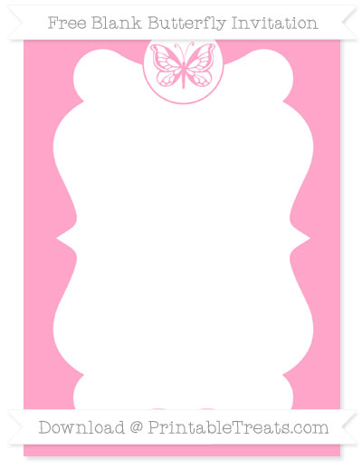 Free Carnation Pink Blank Butterfly Invitation