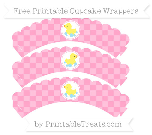Free Carnation Pink Checker Pattern Baby Duck Scalloped Cupcake Wrappers