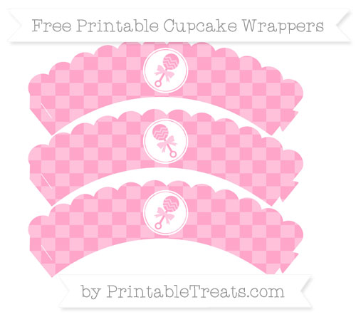 Free Carnation Pink Checker Pattern Baby Rattle Scalloped Cupcake Wrappers