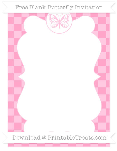 Free Carnation Pink Checker Pattern Blank Butterfly Invitation