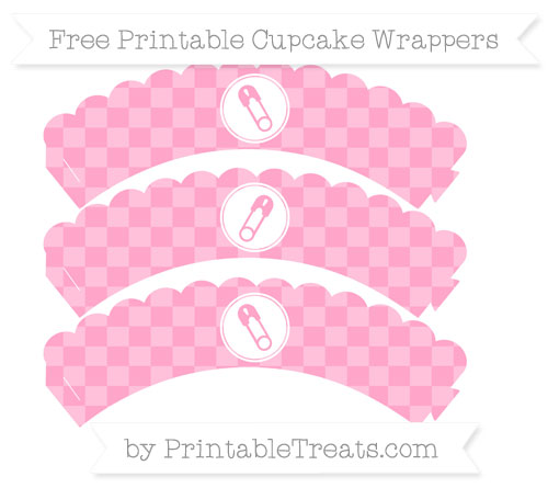 Free Carnation Pink Checker Pattern Diaper Pin Scalloped Cupcake Wrappers