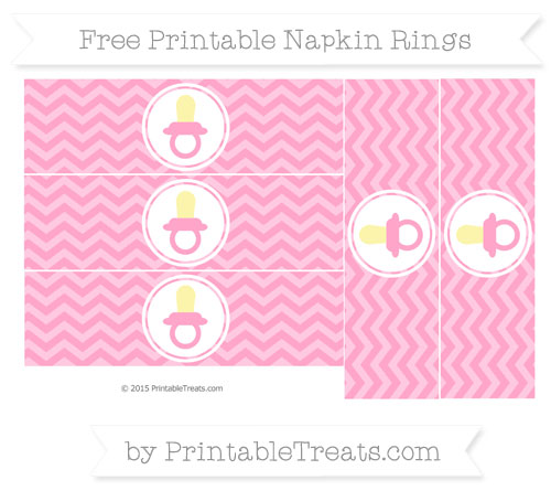 Free Carnation Pink Chevron Baby Pacifier Napkin Rings