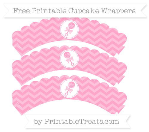 Free Carnation Pink Chevron Baby Rattle Scalloped Cupcake Wrappers