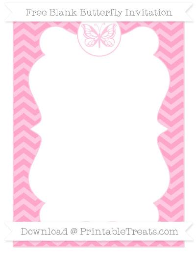 Free Carnation Pink Chevron Blank Butterfly Invitation