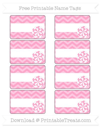 Free Carnation Pink Chevron Cheer Pom Pom Tags