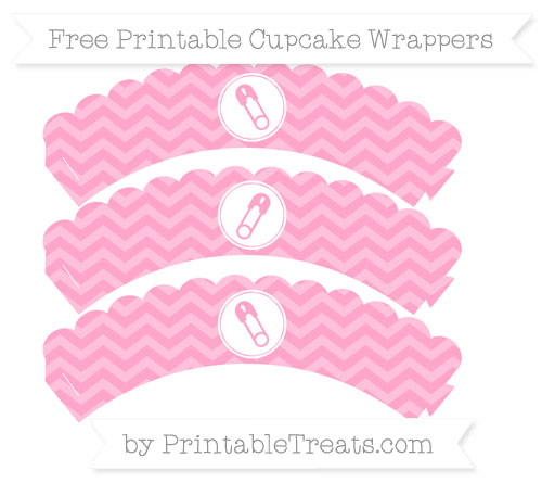 Free Carnation Pink Chevron Diaper Pin Scalloped Cupcake Wrappers