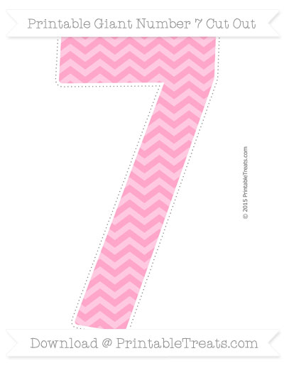 Free Carnation Pink Chevron Giant Number 7 Cut Out
