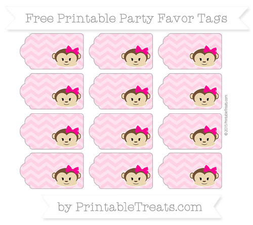 Free Carnation Pink Chevron Girl Monkey Party Favor Tags