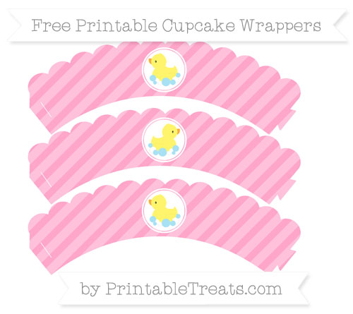 Free Carnation Pink Diagonal Striped Baby Duck Scalloped Cupcake Wrappers