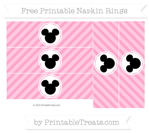 Free Carnation Pink Diagonal Striped Mickey Mouse Napkin Rings