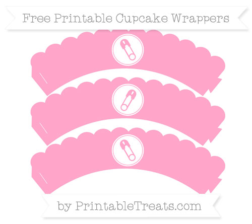Free Carnation Pink Diaper Pin Scalloped Cupcake Wrappers