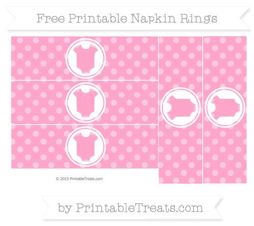 Free Carnation Pink Dotted Pattern Baby Onesie Napkin Rings