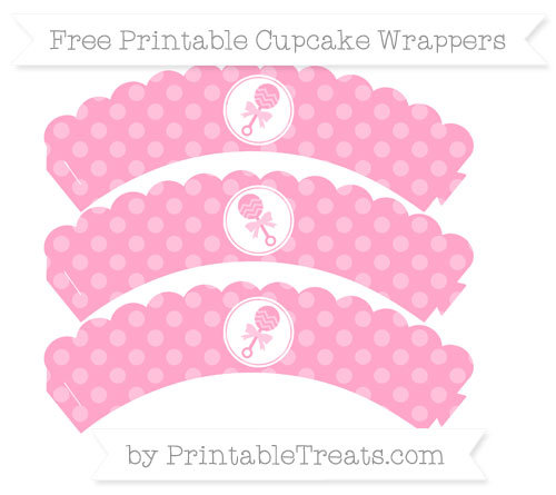 Free Carnation Pink Dotted Pattern Baby Rattle Scalloped Cupcake Wrappers