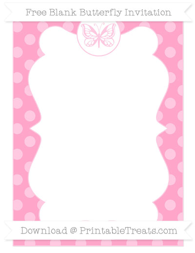 Free Carnation Pink Dotted Pattern Blank Butterfly Invitation