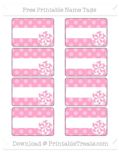 Free Carnation Pink Dotted Pattern Cheer Pom Pom Tags