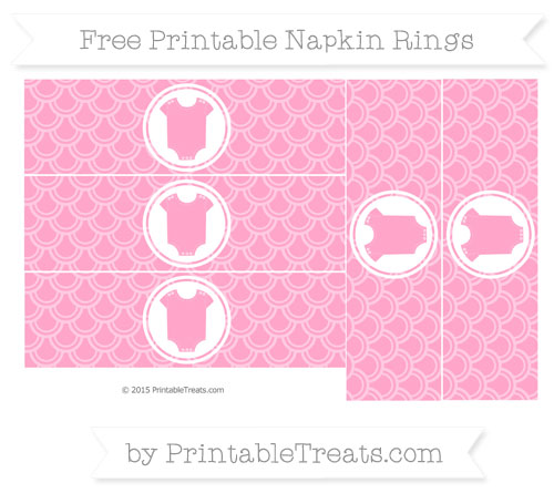 Free Carnation Pink Fish Scale Pattern Baby Onesie Napkin Rings