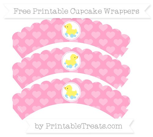 Free Carnation Pink Heart Pattern Baby Duck Scalloped Cupcake Wrappers