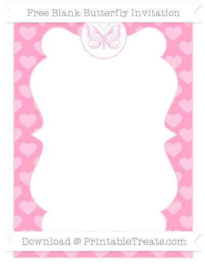 Free Carnation Pink Heart Pattern Blank Butterfly Invitation