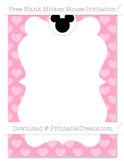 Free Carnation Pink Heart Pattern Blank Mickey Mouse Invitation