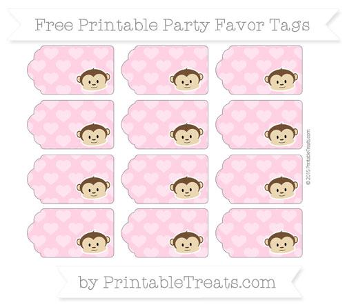 Free Carnation Pink Heart Pattern Boy Monkey Party Favor Tags