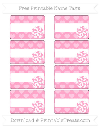 Free Carnation Pink Heart Pattern Cheer Pom Pom Tags
