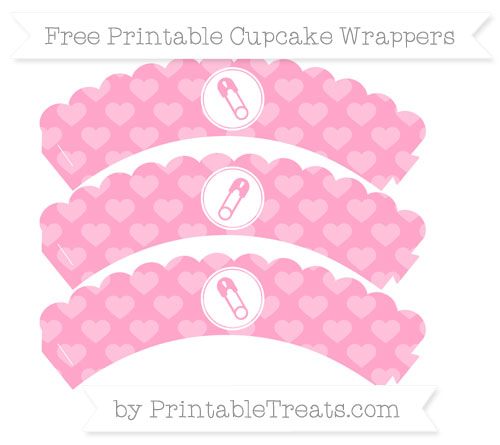 Free Carnation Pink Heart Pattern Diaper Pin Scalloped Cupcake Wrappers