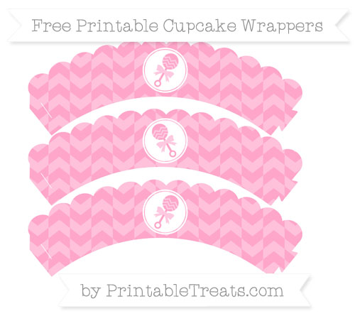 Free Carnation Pink Herringbone Pattern Baby Rattle Scalloped Cupcake Wrappers