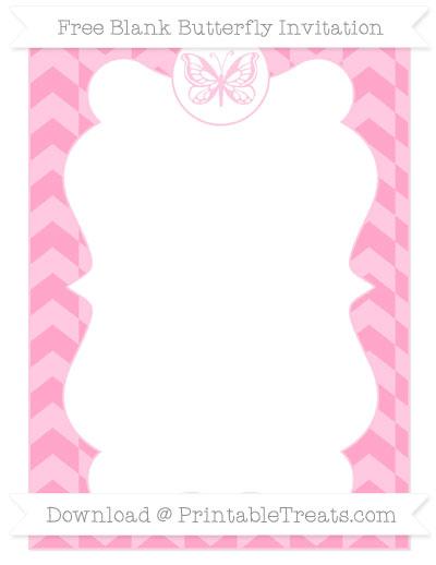 Free Carnation Pink Herringbone Pattern Blank Butterfly Invitation