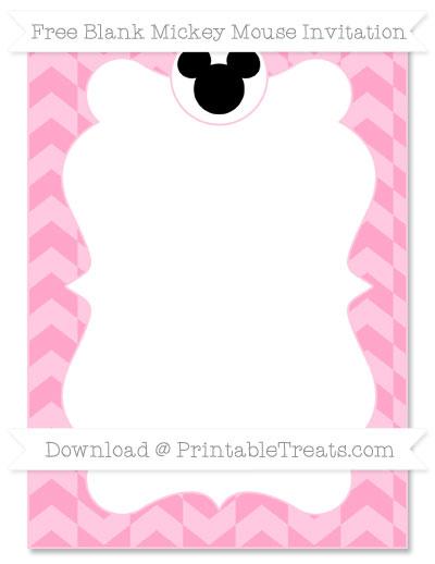 Free Carnation Pink Herringbone Pattern Blank Mickey Mouse Invitation