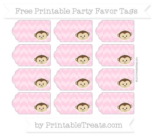 Free Carnation Pink Herringbone Pattern Boy Monkey Party Favor Tags