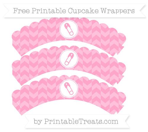 Free Carnation Pink Herringbone Pattern Diaper Pin Scalloped Cupcake Wrappers