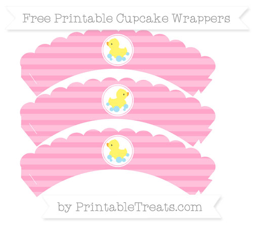 Free Carnation Pink Horizontal Striped Baby Duck Scalloped Cupcake Wrappers