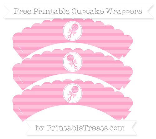Free Carnation Pink Horizontal Striped Baby Rattle Scalloped Cupcake Wrappers