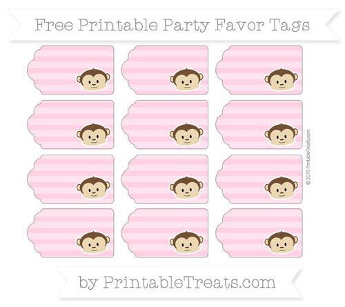 Free Carnation Pink Horizontal Striped Boy Monkey Party Favor Tags