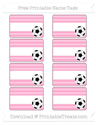 Free Carnation Pink Horizontal Striped Soccer Name Tags