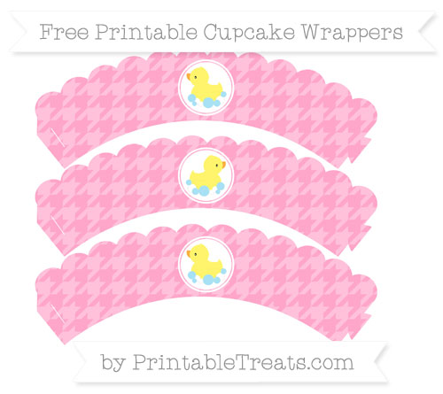Free Carnation Pink Houndstooth Pattern Baby Duck Scalloped Cupcake Wrappers