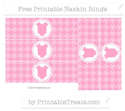 Free Carnation Pink Houndstooth Pattern Baby Onesie Napkin Rings