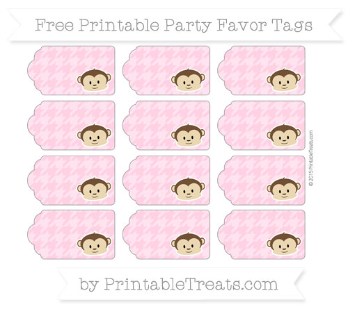 Free Carnation Pink Houndstooth Pattern Boy Monkey Party Favor Tags