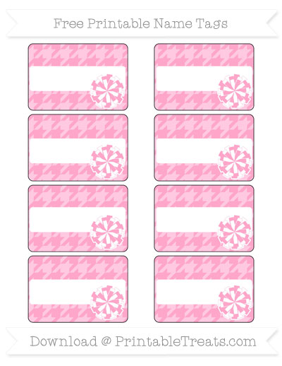Free Carnation Pink Houndstooth Pattern Cheer Pom Pom Tags
