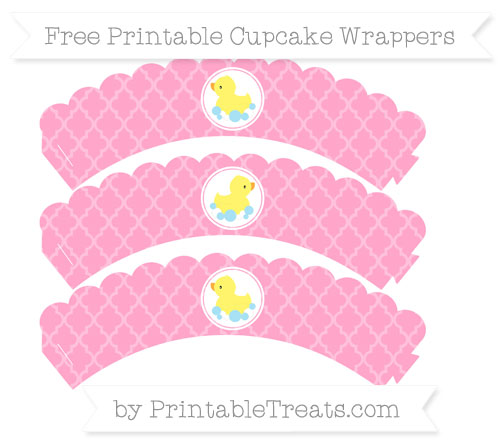Free Carnation Pink Moroccan Tile Baby Duck Scalloped Cupcake Wrappers
